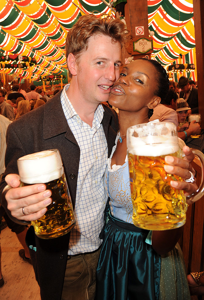 Florian Simbeck and Stephanie Simbeck get close in the beer tent.