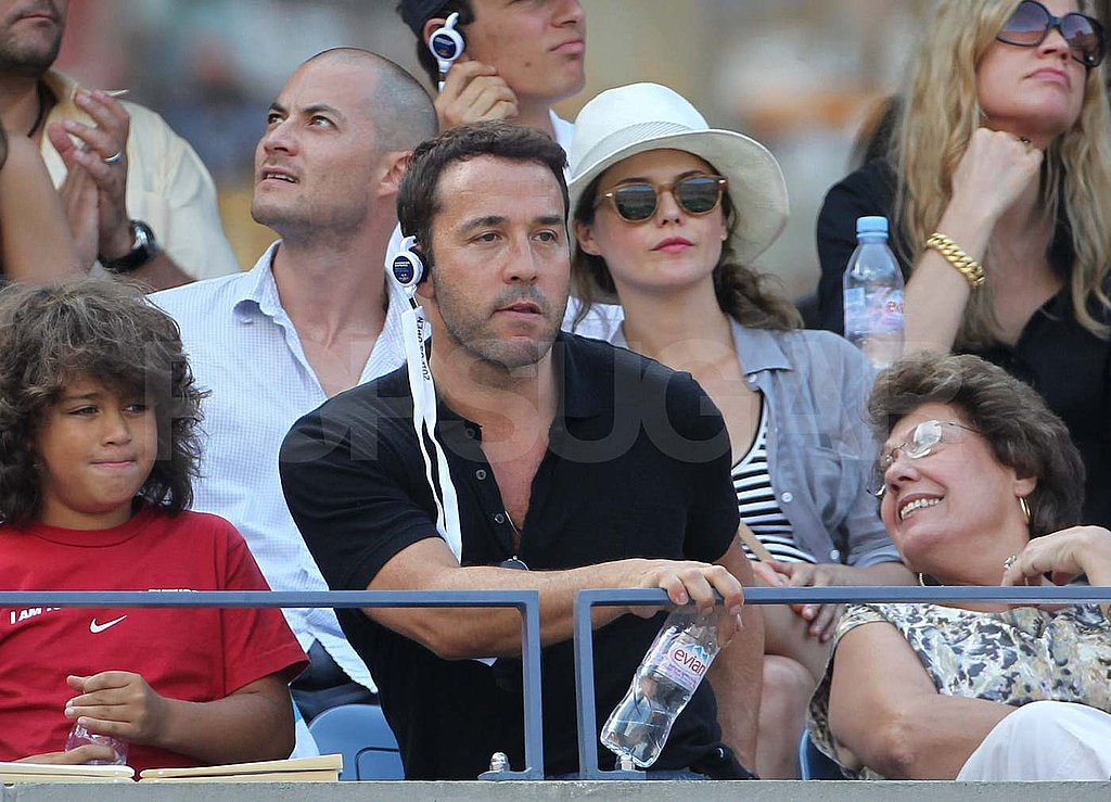 Keri Russell and Shane Deary in the stands with Jeremy Piven at the US Open.