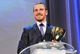 Michael Fassbender accepting his award for best actor at the Venice Film Festival.