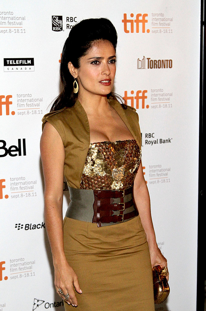 Salma Hayek looked lovely in olive, gold, and brown shades.