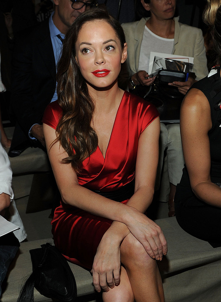 Rose McGowan sat front row at the Donna Karan show.
