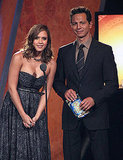 Jessica Alba and Benjamin Bratt on stage at the ALMA Awards.