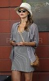 Keri Russell's baby bump in a striped dress.