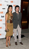 Salma Hayek snapped photos with her Americano costar Matthieu Demy.