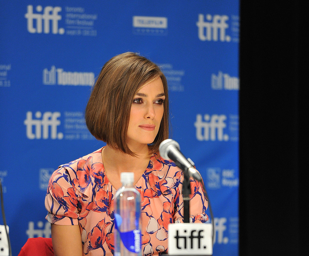 Keira Knightley wore pastels to her TIFF press conference.