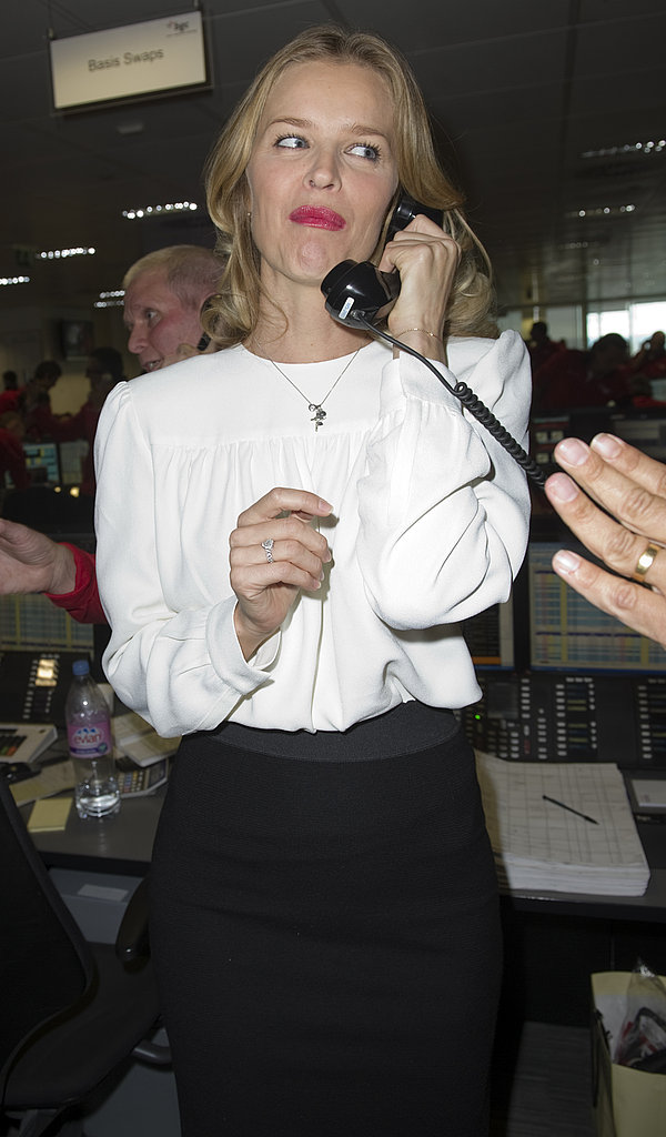 Eva was a pro at taking calls.