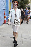 Taylor Tomasi Hill works white knits and a pop of leopard.