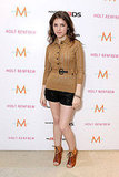 Anna Kendrick rocked leather shorts and lace-up booties for a street-cool vibe at the Variety Studio.
