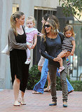 Sarah Jessica Parker visits a friend with her daughters.