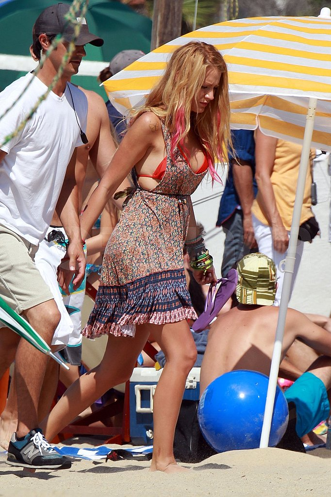 Blake Lively in a bikini shooting Savages.