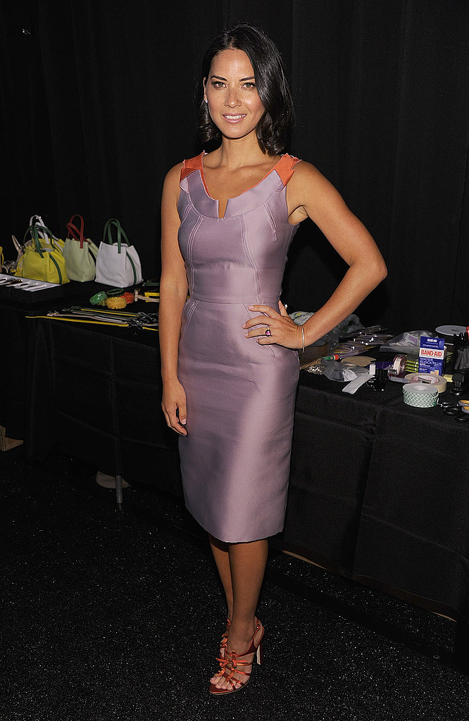 Olivia Munn went sleek backstage at Carolina Herrera.