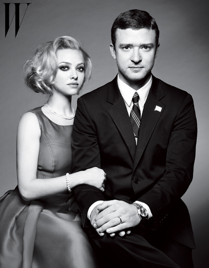 Justin Timberlake and Amanda Seyfried pose as a political couple in W magazine.