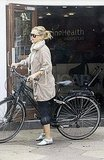 Kate Hudson riding a bike in London.