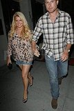 Jessica Simpson holds hands with fiancé Eric Johnson.