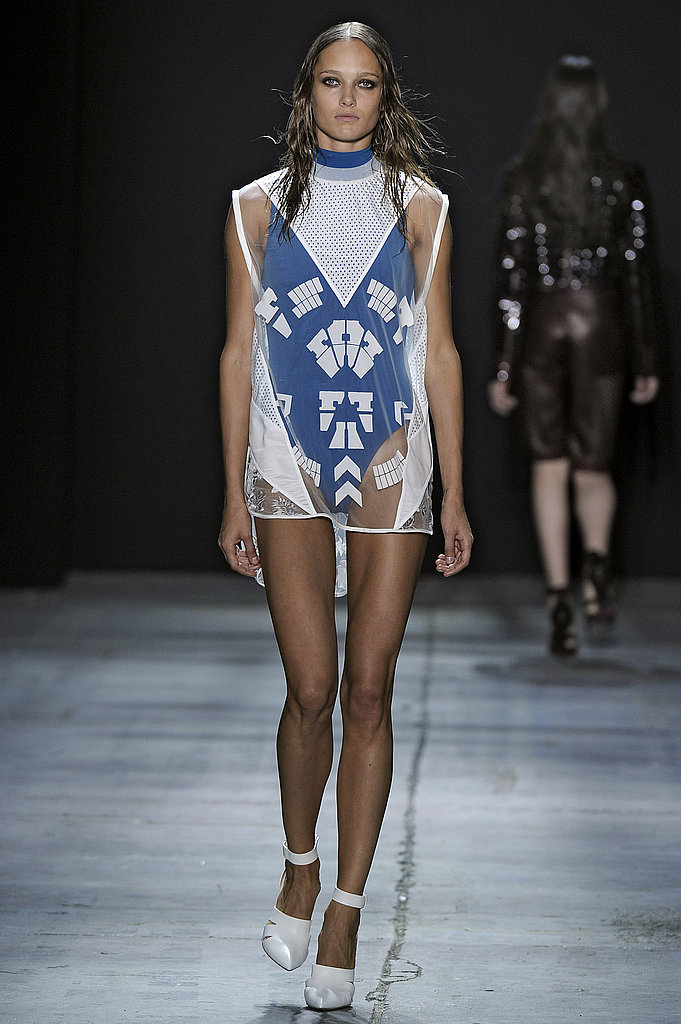 Alexander Wang showcased bright, one-piece suits, layered with sheer, printed coverups.