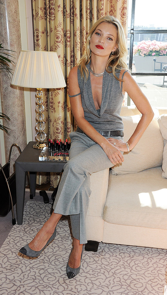 Kate Moss at a Claridges photo call.