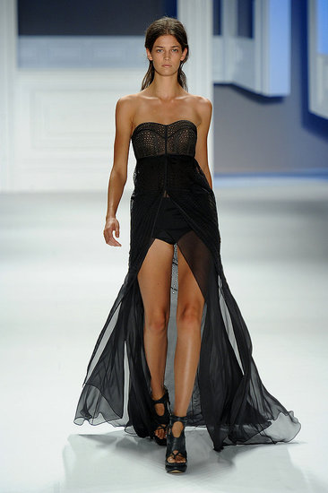 Another look from Vera Wang showcased a bustier-style up top and legs for days on bottom.