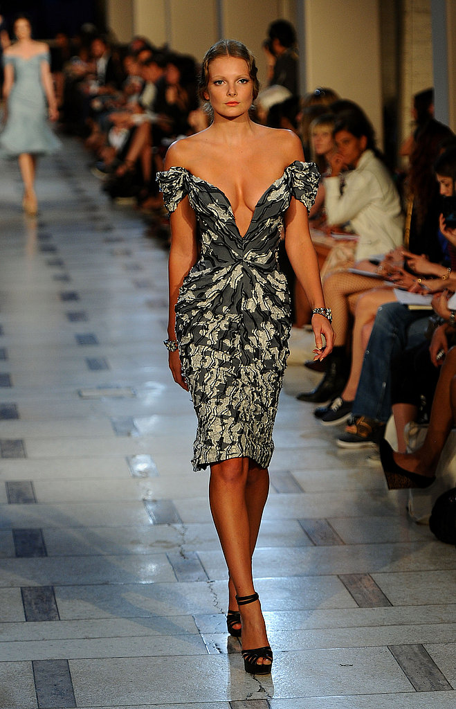 Zac Posen embraced glamour — and cleavage baring necklines for Spring.