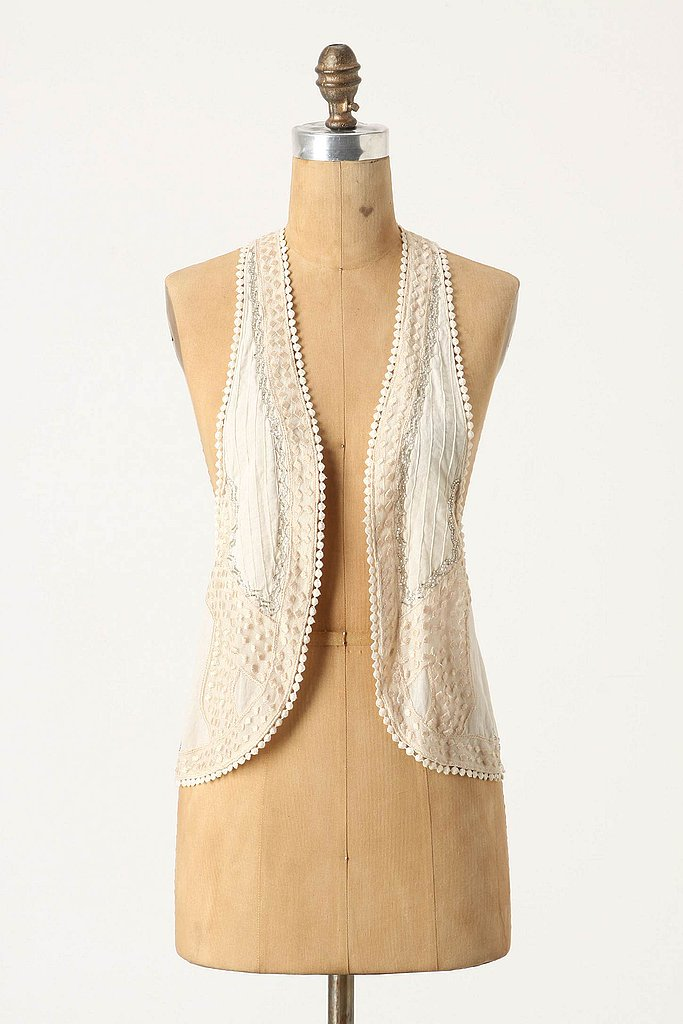 We'd like to contrast this delicate beaded vest over a tee, jeans, and ankle boots. Moyna Peloponnese Vest ($98)