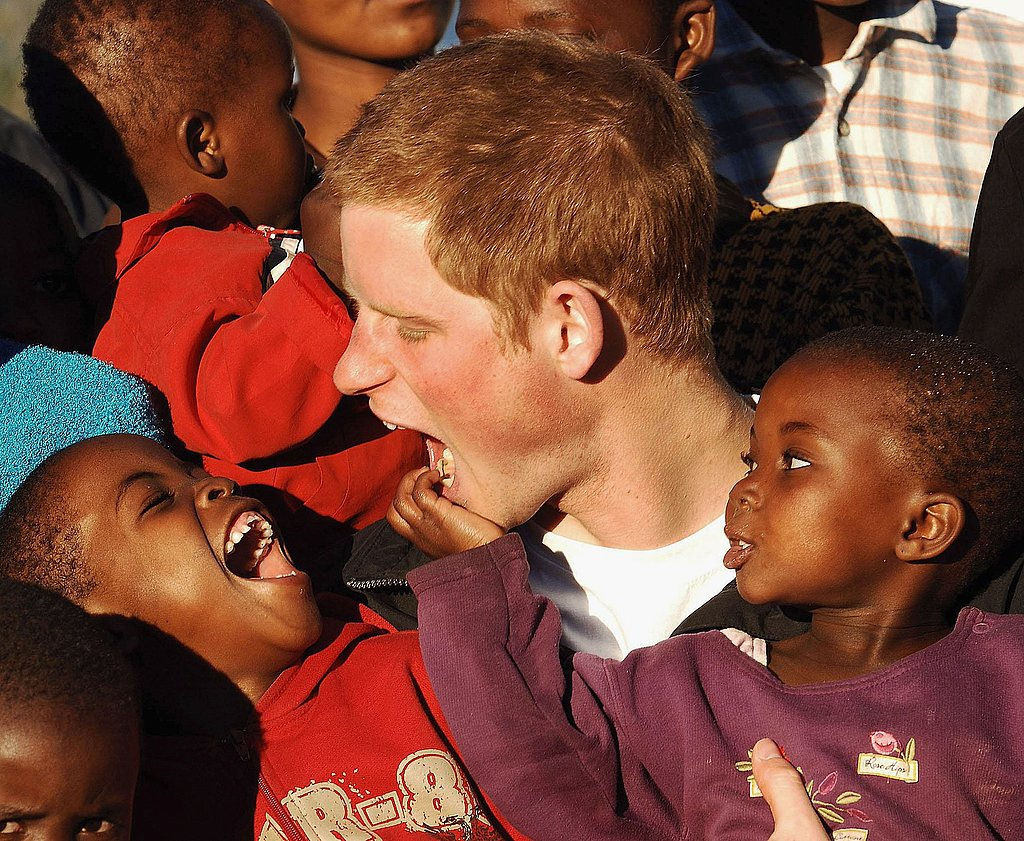 Prince Harry makes a face on the grounds of the Mants'ase children's home in southern Africa in 2006.