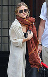 Mary-Kate Olsen wears an oversize scarf in NYC.