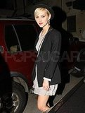 Ashlee Simpson leaving Eric Johnson's birthday party.
