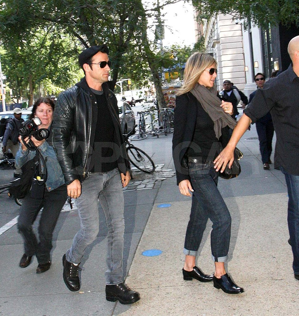 Jennifer Aniston and Justin Theroux at lunch in NYC.