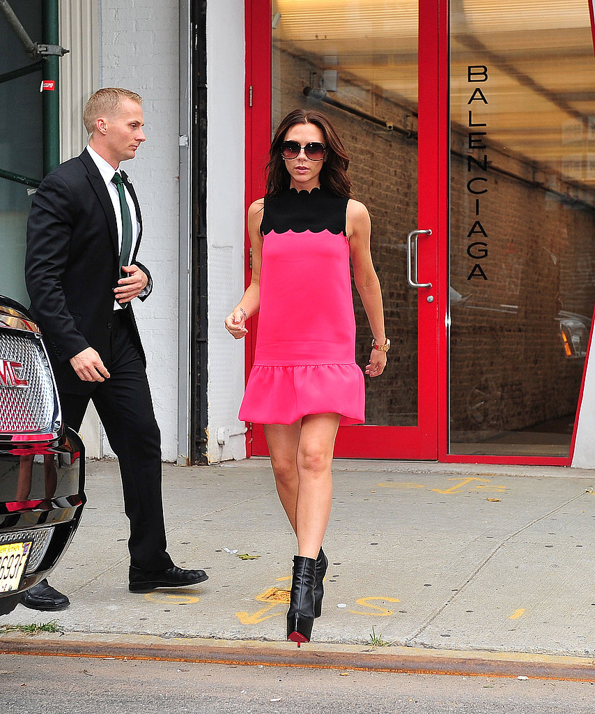 Victoria Beckham wore one of her own designs during fashion week.