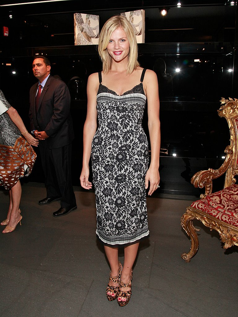 Brooklyn Decker looked beautiful at the Dolce & Gabbana party, wearing a black and white printed dress from the brand.