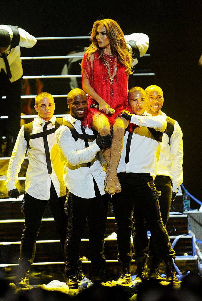 J Lo got a lift from her posse of sexy men.