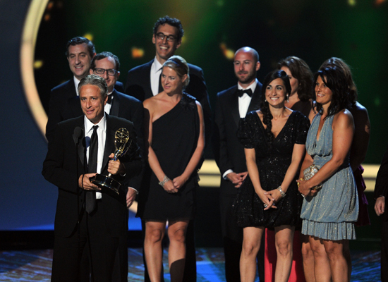 """I think I speak for everybody here when I say if the world does need to repopulate at some point, the announcing team of Sofia Vergara and Rob Lowe, I think, would make very pleasant children."" — Jon Stewart, commenting on the pair who presented him with the award for best variety show."