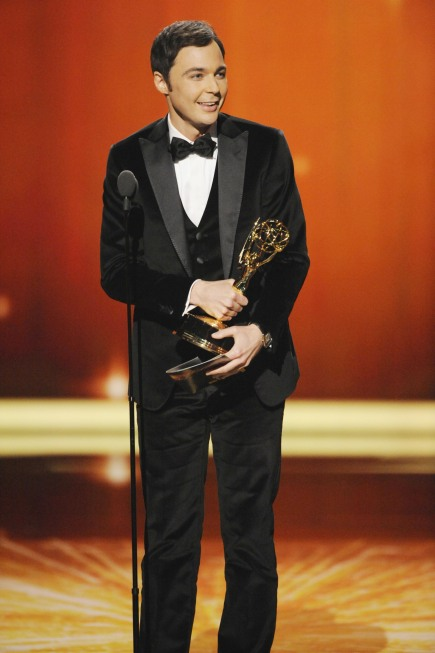 """It's so odd for so many reasons."" — Jim Parsons, after Charlie Sheen presented his award.  Photo courtesy of Fox"