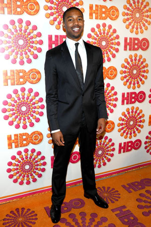 Michael B. Jordan arrived at the HBO Emmy afterparty in a suit and tie.