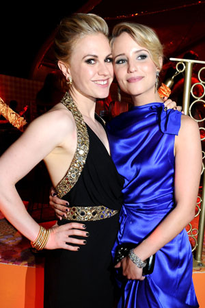 True Blood's Anna Paquin posed with Glee's Dianna Agron at the HBO Emmy afterparty.