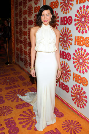 Parks and Recreation star Aubrey Plaza wore a floor-length white gown to the HBO Emmy afterparty.