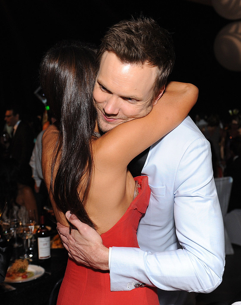 Nina Dobrev hugs Joel McHale at the Emmy's Governor's Ball.