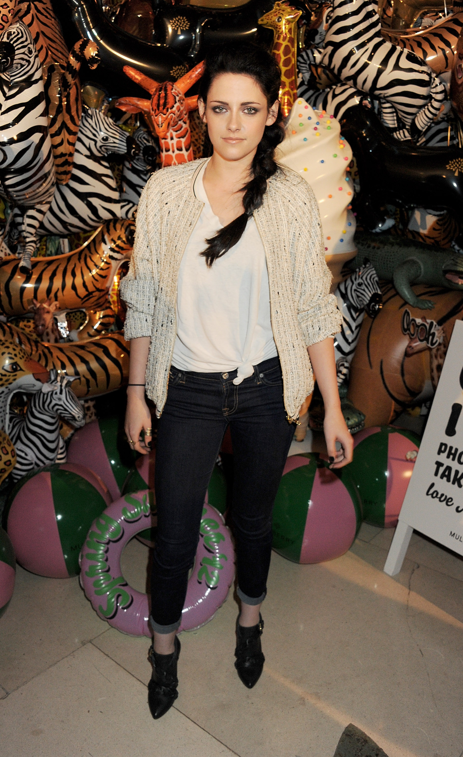 Kristen Stewart in jeans at Mulberry afterparty.