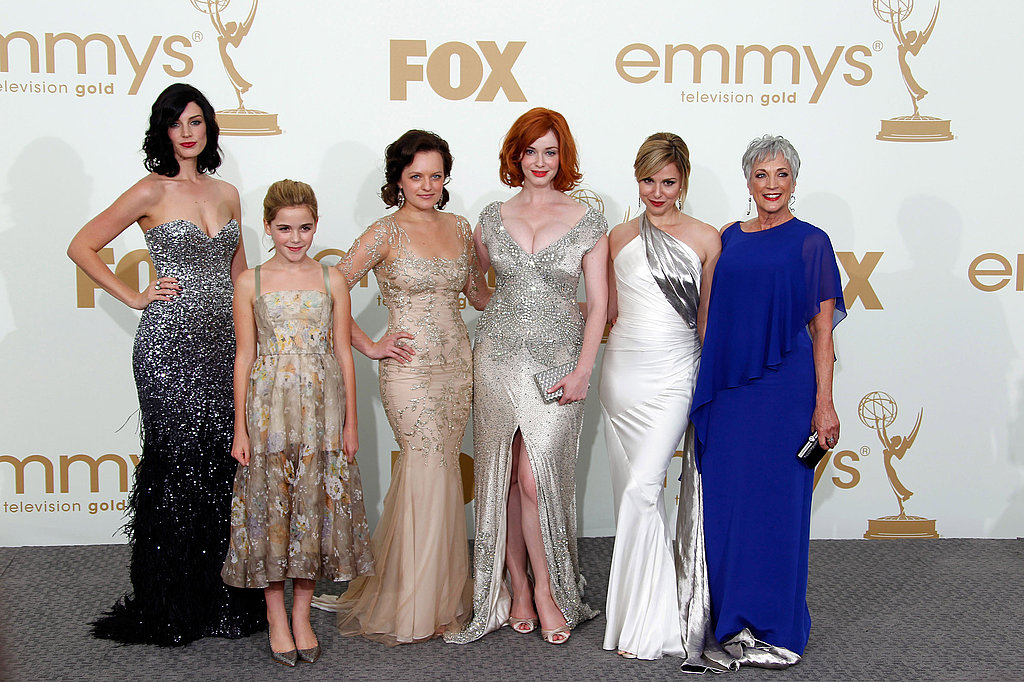 Christina Hendricks, Elisabeth Moss, Kiernan Shipka, Cara Buono, Jessica Pare, and Randee Heller in the Emmys press room.