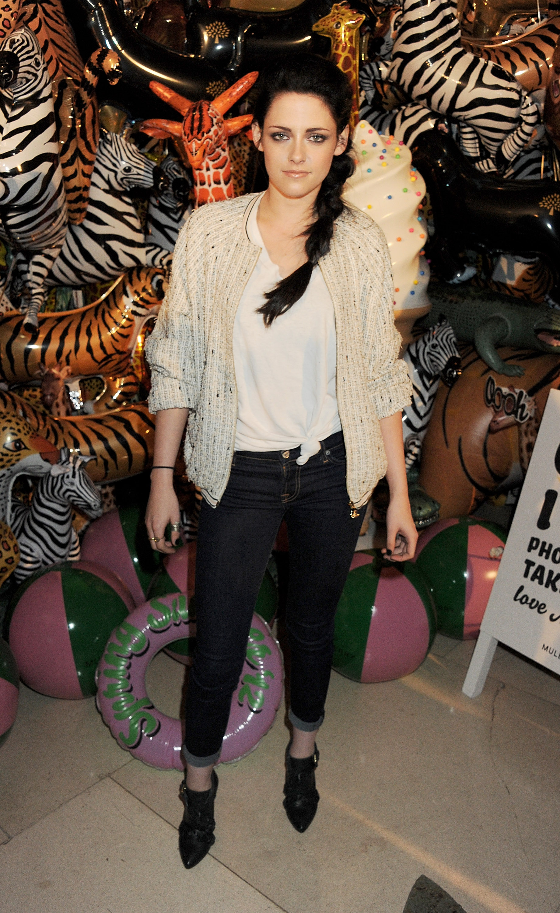 Kristen Stewart at Mulberry during London Fashion Week.