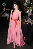 Zooey Deschanel in her pink gown.