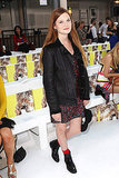 Harry Potter star Bonnie Wright paired a printed mini with a leather jacket at the Sass & Bide show.