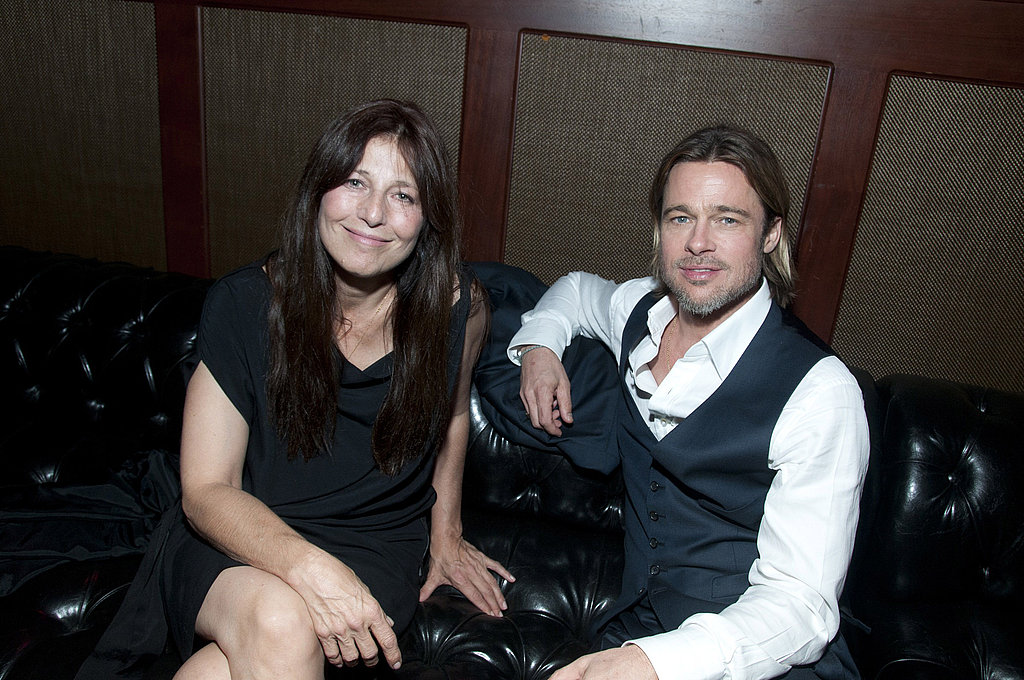 Brad Pitt catches up with Catherine Keener.