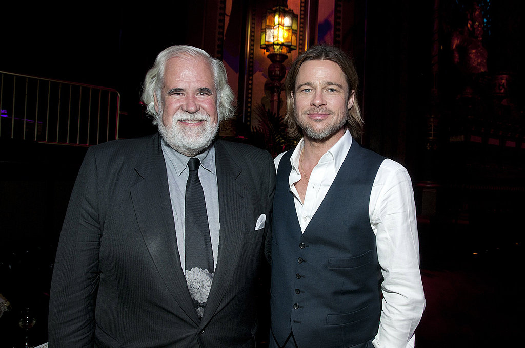 Jeff Blake and Brad Pitt attend the Moneyball Oakland premiere.