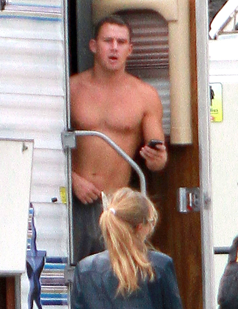 Channing Tatum checked his BlackBerry shirtless.