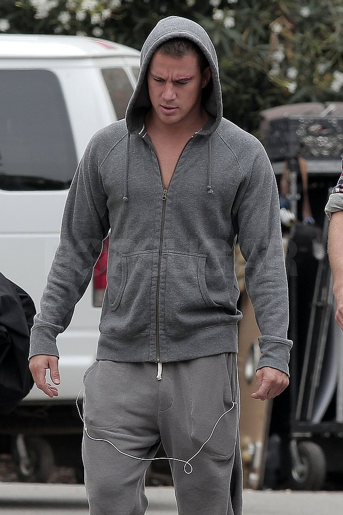 Channing listened to his iPod between scenes.