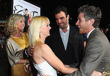 Blythe Danner, Anna Faris, and Dave Annable laughing together.