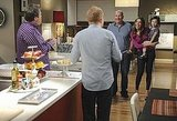 Eric Stonestreet as Cam, Jesse Tyler Ferguson as Mitchell, Ed O'Neill as Jay, Sofia Vergara as Gloria, and Aubrey Anderson-Emmons as Lily on Modern Family.  Photo copyright 2011 ABC, Inc.