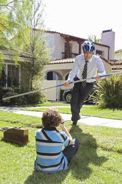 Ty Burrell as Phil and Nolan Gould as Luke on Modern Family.  Photo copyright 2011 ABC, Inc.