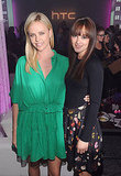 Charlize Theron and Leighton Meester hang out at the launch of the new HTC Rhyme Android smartphone.