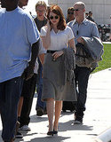 Emma Stone making her way to the set of The Gangster Squad.